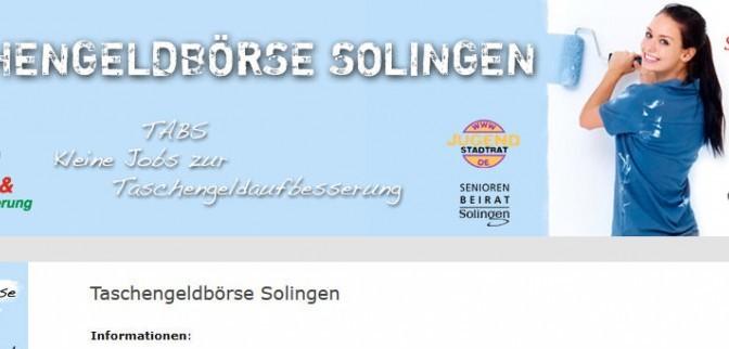 Website der Taschengeldbörse Solingen