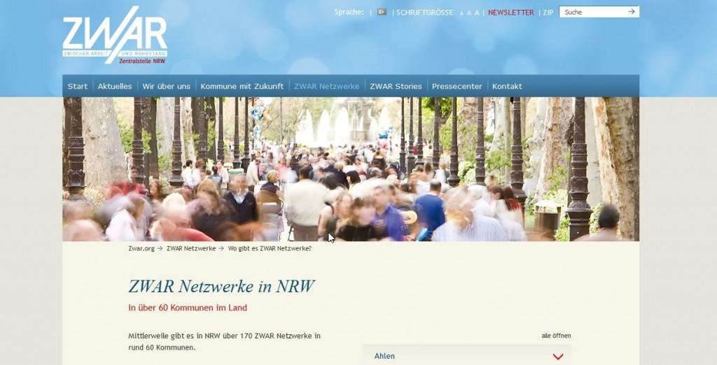 Screenshot der ZWAR Website