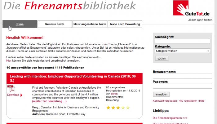 Umfangreiches Online-Portal zu Themen rund um bürgerschaftliches Engagement